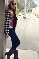 dark brown cowboy boots Durango boots - black H&M jeans - white flannel BDG shir