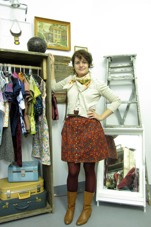 beige Forever21 cardigan - red supayana skirt - orange vintage boots