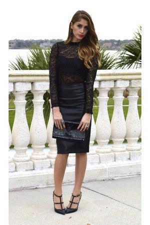 leather Zara shirt - patent leather Yves Saint Laurent purse - lace Zara top