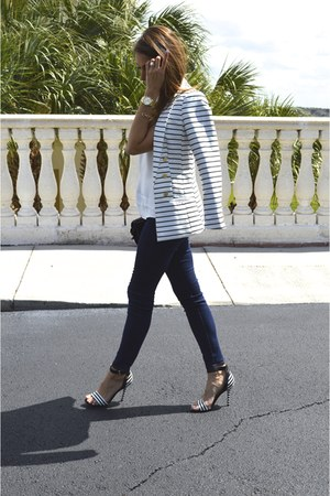 H&M blazer - J Brand jeans - carmen steffens sandals