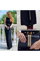 black bag - black Mango jumper - black Christian Louboutin heels