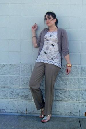 gold wedges - nude cardigan - cream top - dark khaki pants - coral bracelet