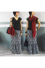 Black-maxi-skirt-george-dress-charcoal-gray-v-neck-new-breed-shirt-red-scarf