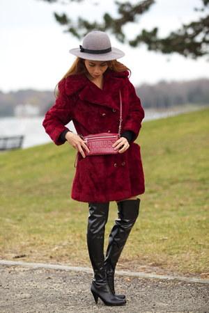 crimson coat - black boots - charcoal gray hat - crimson bag