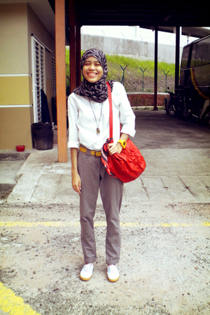 white Topshop shoes - white Topshop shirt - gray random shop in Sunway scarf