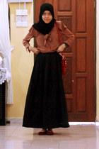 crimson online blogshop bag - crimson sg wang flats - black made by my aunt skir