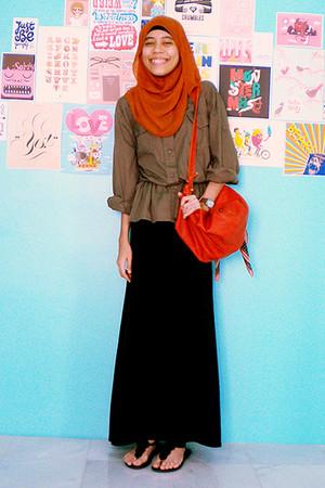 black dress - orange Dotti bag - black shoes - green Trendy Confession shirt - b