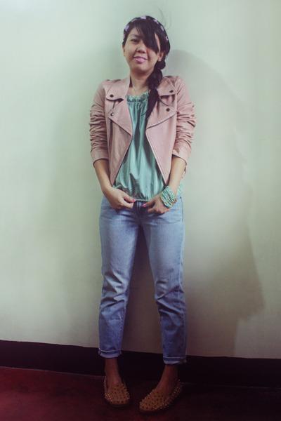 light pink leather biker jacket - light blue thrifted jeans