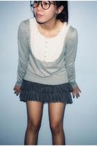 black glasses - gray sweater - gray Zara shirt