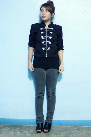 black band leader thrifted jacket - gray Lee jeans - black DV shirt