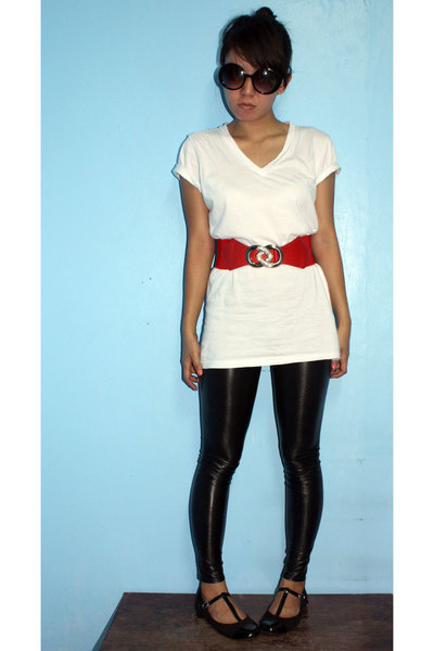 DV glasses - bench shirt - quiapo belt - leggings - Dorothy Perkins shoes