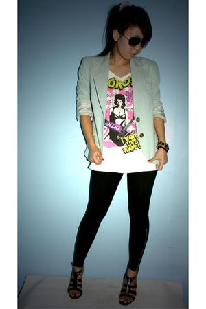 Thrifted Zara blazer - thrifted shoes - DV glasses - leggings - shoes