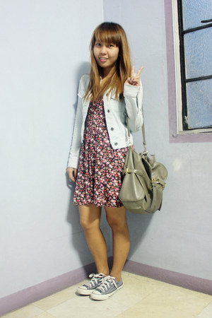 denim thrifted jacket - Forever 21 dress - thrifted bag - Converse sneakers