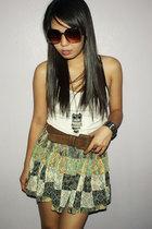 white top - brown belt - skirt - accessories