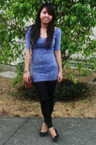 blue Topshop dress - black Topshop leggings - black thrifted shoes - brown thrif