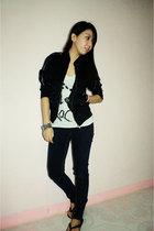 black jacket - white top - pants - black