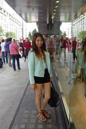 Primark shoes - H&M blazer - black Bershka shorts