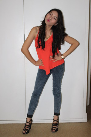 Topshop top - Zara jeans - H&M wedges