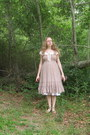 Tan-smocked-dress-white-petticoat-skirt-off-white-blouse-tan-steve-madden-
