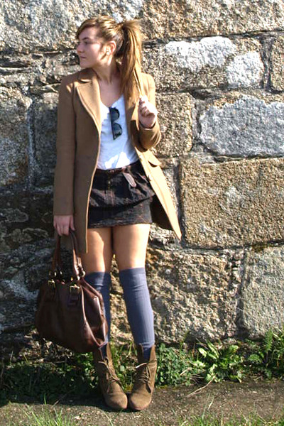 Zara boots - Stradivarius coat - Centromedia tights - Zara bag - Zara skirt