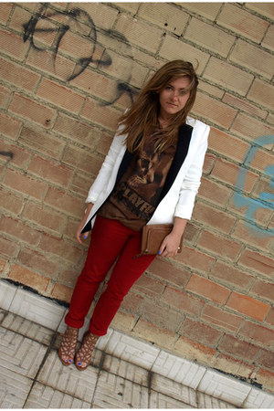 Stradivarius jeans - Zara blazer - Bershka shirt - Parfois purse - Zara sandals