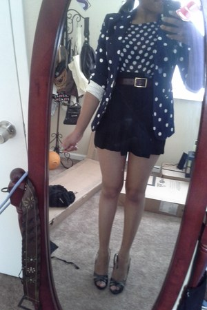 Mario Matteo blazer - polka dot sheer cotton on blouse - black herve leger skirt