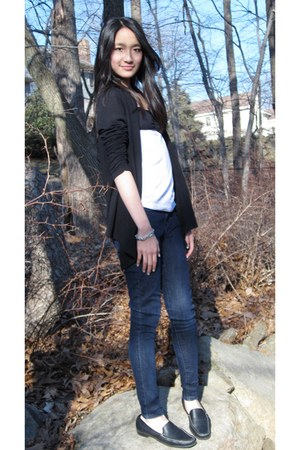 black Lace-Backed cardigan - navy skinny Macys jeans - white DIY shirt