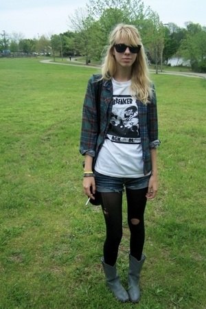 band t shirt custom screen print shirt - thrifted plaid shirt - shorts - tights