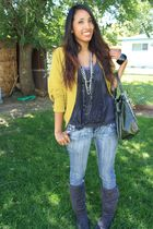 elle sweater - Wet Seal blouse - z--Co jeans - 579 boots - Guess purse