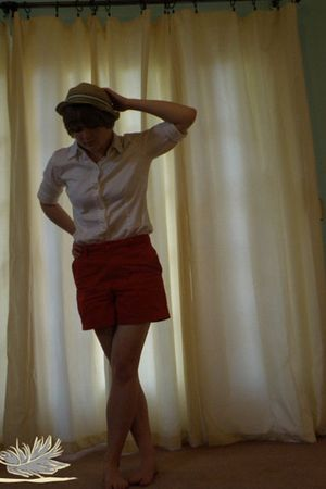 red Tommy Hilfiger shorts - white Old Navy shirt - brown Gap hat