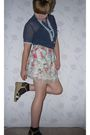 Blue-vintage-shirt-beige-wet-seal-skirt-black-h-m-socks-so-old-i-have-no-i