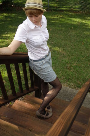 white H&M shirt - blue thrifted shorts - blue thrifted belt - black H&M tights -