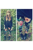 floral pants - dip hem top