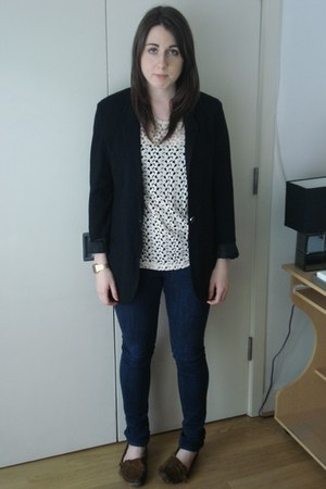 BDG jeans - silence and noise blazer - open tee Staring at Stars top - mocassins