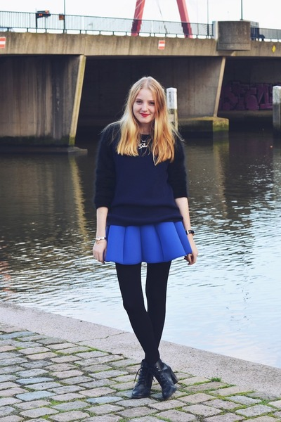 & other stories skirt - H&M boots - & other stories jumper - H&M necklace