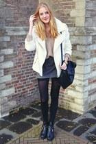 Zara coat - Topshop boots - Zara skirt - H&M jumper