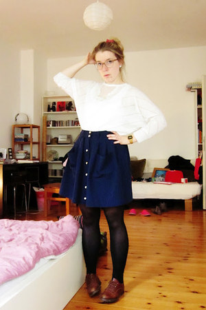 navy Kauf Dich Glcklich skirt - dark brown thrifted shoes - black H&M tights