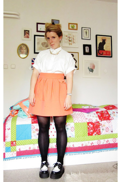H&M skirt - creepers shoes - vintage blouse - thrifted necklace