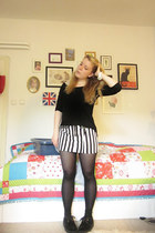black and white H&M skirt - creepers shoes - black asos shirt - asos accessories