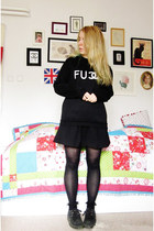black Sheinside sweater - black asos shoes - black asos socks - black H&M skirt