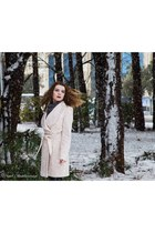 wool Madame D coat - crimson leather boots - dark gray Stradivarius hat - scarf