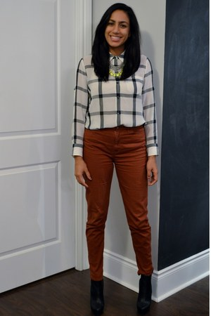 silk madewell blouse - salmon American Apparel jeans