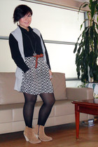 black H&M skirt - camel asos boots - black Mango shirt - tawny H&M belt