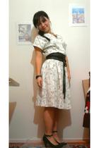 beige vintage from secondskin etsy shop dress - black