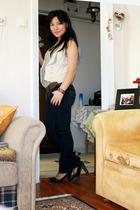 Mango shoes - Sgradivarius jeans - No label belt - Bershka top - Mango vest