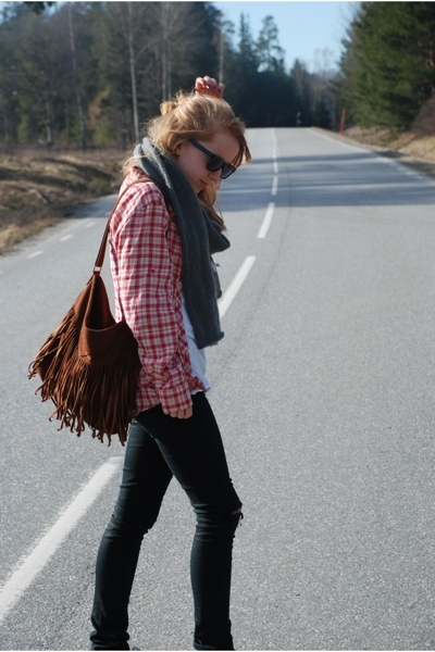 Wedins purse - Primark shirt - Cheap Monday jeans - Monki scarf