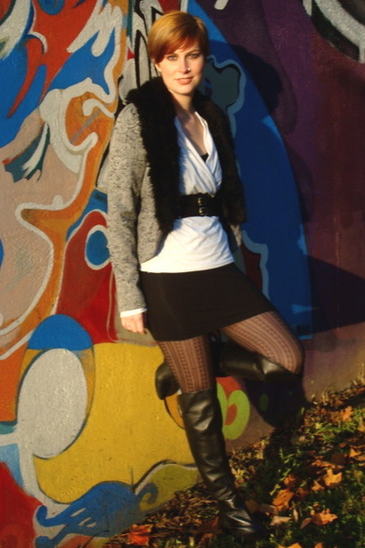 silence and noise coat - Violet blouse - aa dress - Guess boots