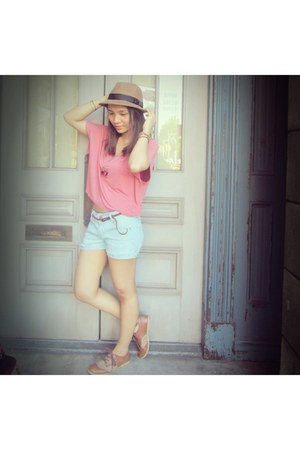 gu hat - longchamp bag - H&M shorts - Forever 21 top
