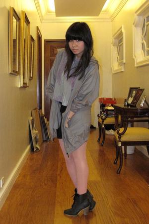 gray Giordano Concepts jacket - gray cotton on t-shirt - black cotton on dress -