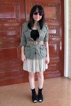 green Zara jacket - black bench t-shirt - beige vintage skirt - brown giordano b